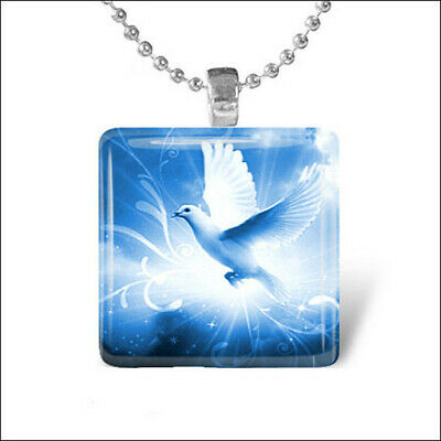 Glass Dove Necklace - DOVE OF PEACE Angel Bird Heaven Religious Glass Tile Pendant Necklace Jewelry