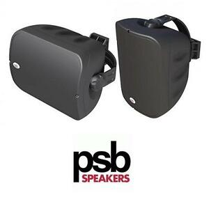 NEW PAIR OF PSB BLACK SPEAKERS INDOOR OUTDOOR SPEAKER SOUND SYSTEM AUDIO MUSIC ENTERTAINMENT 107436846