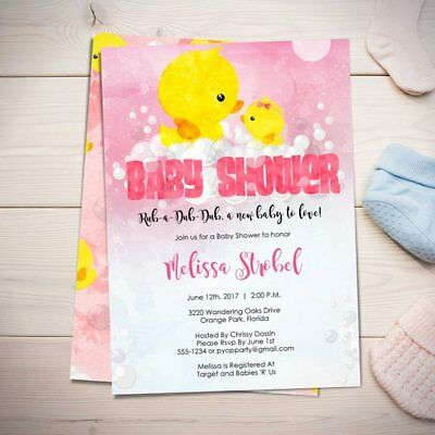 Rubber Ducky Baby Shower Invitations (Rubber Ducky Baby Shower Invitations - Duckie - Bath Time - GIRL - Shower)