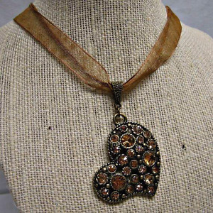 Necklace--Brown Organza