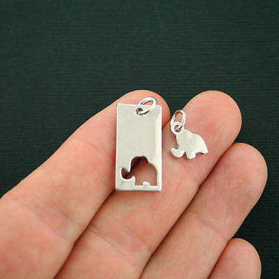 - 2 Mother Daughter Elephant Charms Antique Silver Tone 2 Piece Sets - SC7145