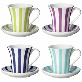 PALIO MULTI-COLOURED ESPRESSO CUPS AND SAUCERS, SET OF 4 - STRIPED