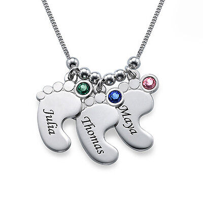 Mom Jewelry   Baby Feet Necklace In Sterling Silver   Personalized  Usa Seller