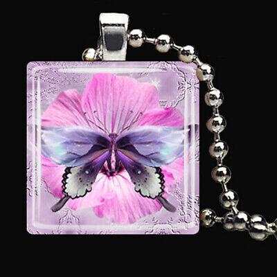 - BUTTERFLY FLOWER Spring Summer Garden Floral Glass Tile Pendant Necklace