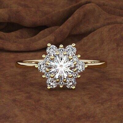 Antique Cz Engagement Rings (Engagement 18K Gold White Topaz CZ Snowflakes Flower Antique Ring Propose)
