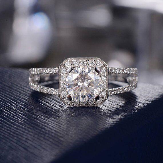 6.5 mm Halo Moissanite Split Shank Engagement Ring 14k White