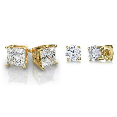 (Gold Stainless Steel Stud Earrings Cubic Zirconia Men Women 2PC Earrings Set )