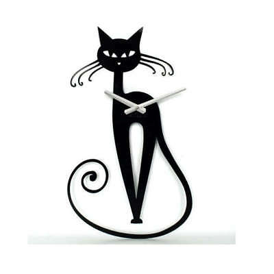 (Metal Wall Clock Modern Unique Large Black Decor Cat Elegant Home FREE SHIPPING)