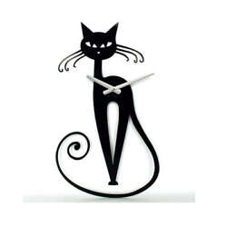 Metal Wall Clock Modern Unique Large Black Decor Cat Elegant Home FREE SHIPPING