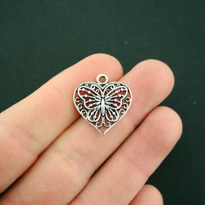 6 Butterfly Heart Charms Antique Silver Tone Delicate Design - SC6091