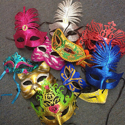 Lot of 50 Mixed Costume Mask Masquerade Mardi Gras Venetian Wedding Quince Party - Mardi Gra Costume