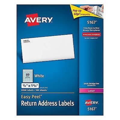 8000 Avery Dennison 5167 Laser Return Address Labels 12 X 1 34 Size