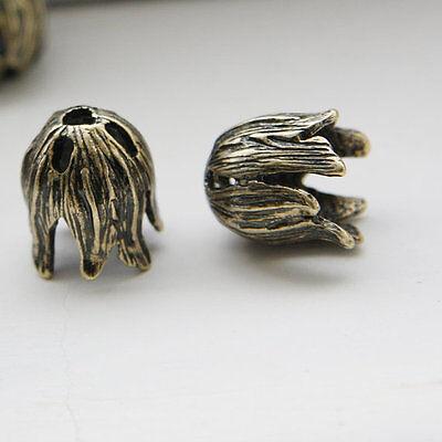 4pcs Antique Gold Tone Base Metal Bead Caps- Flower 14x12mm (16C-R-99) Antique Gold Tone Base