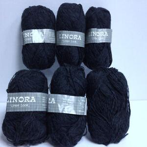 Black Linen Look Yarn Bundle, Black Cotton Yarn