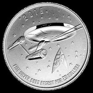 "STAR TREK ""THE ENTERPRISE"" PURE SILVER COIN! 50TH ANNIVERSARY!"