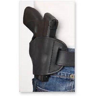 Bulldog Black Leather OWB Belt hand Gun Holster for Glock 43 (Black Holster)