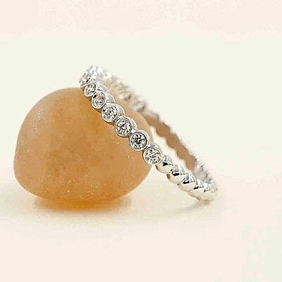 (Half Eternity Diamond Bezel Wedding Ring.14k Beaded Diamond Wedding Band.)