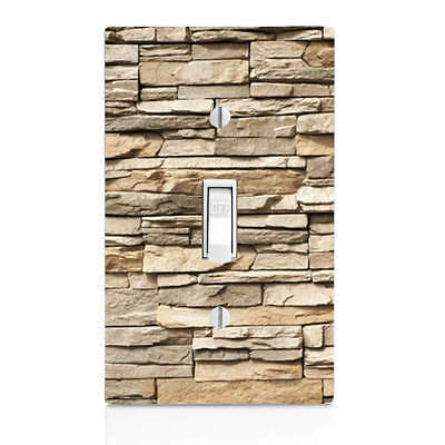 Beige Stacked Stone, Light Switch Cover, Bedroom Decor, Home Decor, Bathroom Light Switch Cover Stone