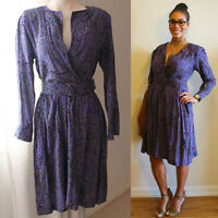 80s Faux Wrap Purple Printed Dress with Matching Belt/ Size 8/10