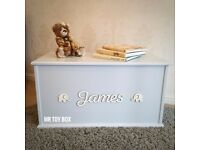 Personalised Toy box - Baby Blue