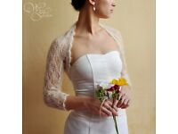 Bridal shrug / bolero. Hand knitted lace pattern in mohair wool