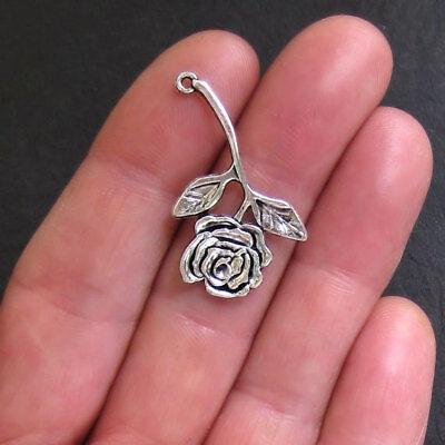 6 Rose Charm Antique Silver Tone Long Stemmed - (Long Stem Rose Charm)
