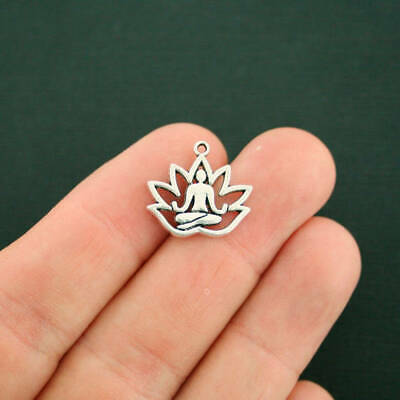 8 Yoga Meditation Charms Antique Silver Tone Lotus Flower - SC770 (Yoga Charms)