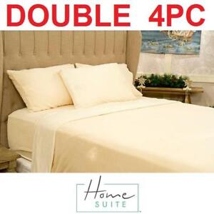 NEW HOMESUITE 4PC SHEET SET DOUBLE 151680419 LUXURIOUS MINK POLYESTER BEDDING CHAMPAGNE