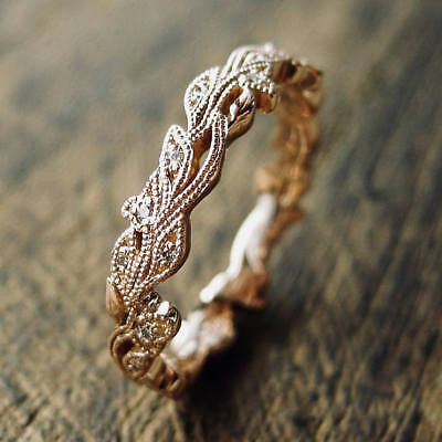 (Vintage 18K Rose Gold White Sapphire Flower Buds & Leafs Ring Women Jewelry Gift)