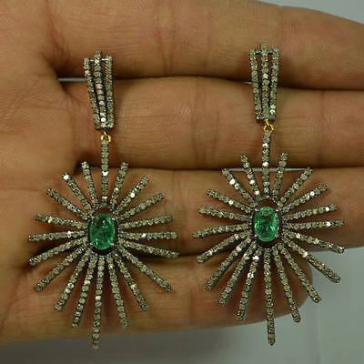 Sterling Silver Emerald Gemstone Starburst Dangle Earrings 14k Gold Diamond Pave