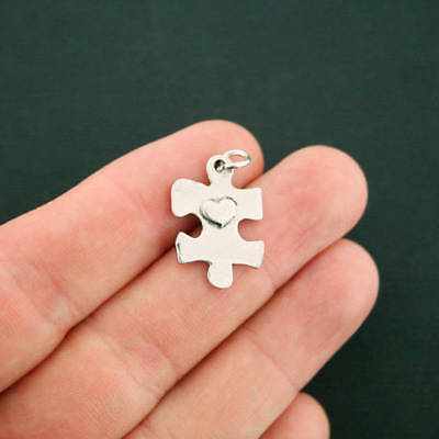 4 Heart Puzzle Piece Charms Antique Silver Tone With Attached Jump Ring - - Puzzle Piece Heart