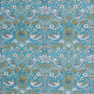 Chinoiserie Victorian Style Fabric Floral Bird Fruit Upholstery Drapery Blue IL9