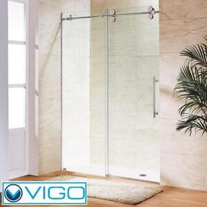 "NEW VIGO ELAN FRAMELESS SHOWER DOOR VG6041CHCL6074 142428109 60"" x 74"" BYPASS CHROME CLEAR GLASS BATHROOM BATH STALL ..."