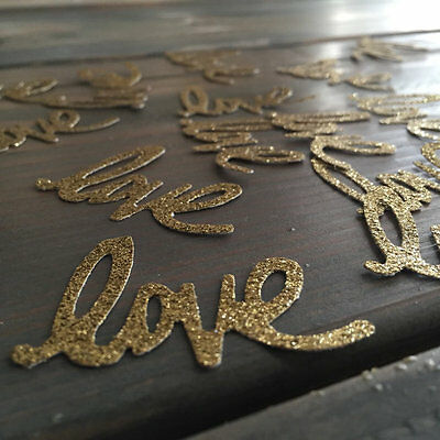 75 cursive Love gold glitter Confetti, Wedding, Bridal Party, Engagement Party