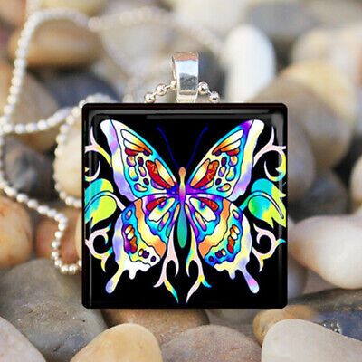 - RAINBOW BUTTERFLY Spring Summer Garden Glass Tile Pendant Necklace Jewelry