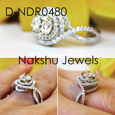 2Ct Off White Round Moissanite Double Halo Engagement Ring 925 Sterling Silver