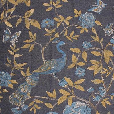 Dark Blue Aqua Fabric Floral Peacock Bird Peony Butterfly Upholstery Drapery PV3