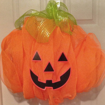 Halloween, Fall, Pumpkin Halloween, Fall, and Harvest orange deco mesh wreath - Fall Halloween Wreaths