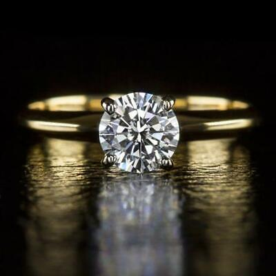 0.85Ct Round Cut Diamond Solitaire Engagement Ring 14K Yellow Solid Gold Finish