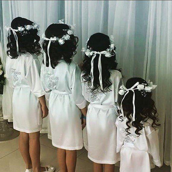 Girls Robes For Kids Flower Girl Wedding Bathrobe Satin Nigh