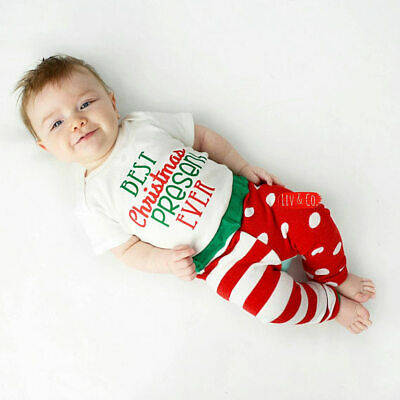 Newborn Infant Toddler Baby Boy Best Christmas Present Ever Outfit Shirt