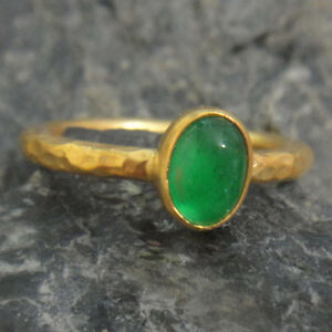 Handmade Hammered Emerald Ring Yellow Gold over .925 Sterling