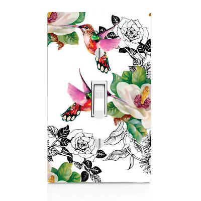 (Humming Bird Floral Light Switch Cover, Switchcover, Outlet cover, Bedroom Decor)