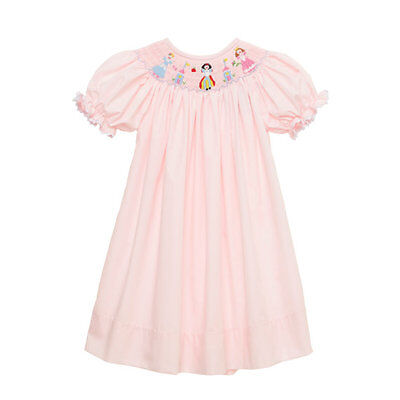 Disney Princess Kids (New Smocked Princess bishop dress 6m - 6  * Minnie Disney trip birthday pink)