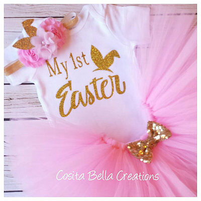 Handmade baby girl My First Easter pink and gold outfit tutu princess ](My First Easter)