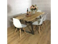 Industrial Dining Table Kitchen Chairs Seating Bench 6 8 wood metal solid chunky rustic