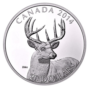 """2014 """"WHITE-TAILED DEER""""  Portrait-SILVER COIN-CANADA-MINT!!!"""