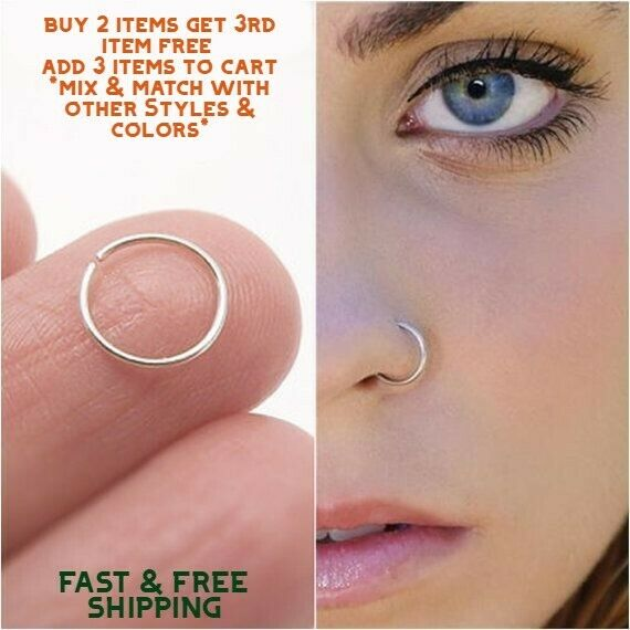 Surgical Stainless Steel Plain Silver Nose Ring Hoop 8mm 22 Gauge