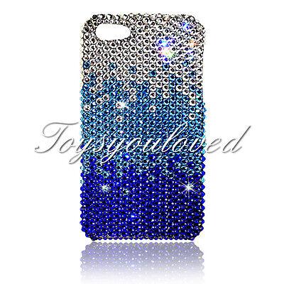 Blue Crystal BLING BACK CASE FOR IPHONE 7 / 8 plus 5.5 Made w/ SWAROVSKI ELEMENT Blue Crystal Case