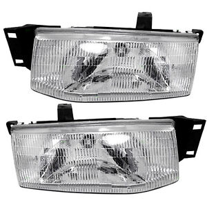 New Pair Set Headlight Headlamp Lens Housing Assembly DOT 91-96 Ford Escort